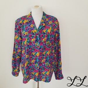 Vintage Blouse Top Floral Pink Purple Yellow 80s